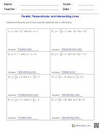 given a pair of lines determine if the lines are parallel perpendicular or intersecting math worksheetsgeometry