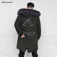 2018 winter jacket men street hip hop fur hooded parka coat thick warm black army green