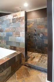 Bathroom Dop In Bathtub Combined With Spacious Wall In Shower Without Door  Design Plus Unique Bathroom