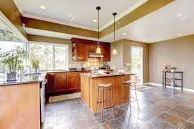 Kitchen Stone Floor Luxury Kitchen Interior With Green Walls And Stone Floor And