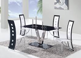 Modern 5 Piece Dining Set With Monochromatic Black And White Tone With Long  Lean Curvy Back And Glossy Slim Rectangular Black Table With Metal Legs