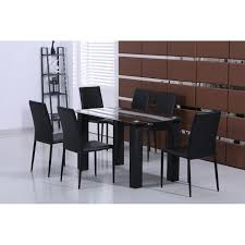 glass dining table with 6 black faux leather chair loading zoom