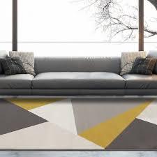 yellow ochre grey geometric rug scandi nordic chevron zigzag living room rugs uk 5