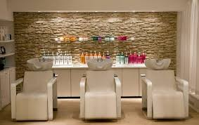 Hair salons ideas Design Ideas Peach Chairs With Decorative Stone Wall For Small Hair Salon Interior Design Ideas Kalvezcom Peach Chairs With Decorative Stone Wall For Small Hair Salon