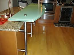 backpainted glass countertop for raised bar area on kitchen island
