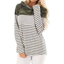 DOLDOA <b>Womens</b> Casual Long Sleeve Hoodie Striped Print ...