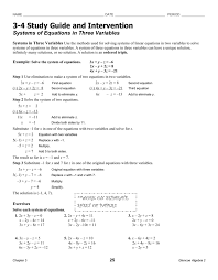 study guide and intervention solving systems of equations answer systems of equations in 3 variables hw