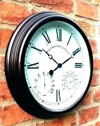 large outdoor illuminated clock weather master wall and thermometer mounted clocks thermometers outdo