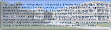 the department of human health and nutritional sciences offers bsc majors in human kinetics and in