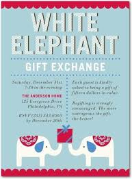 white elephant gift invitation. Perfect Elephant Cute And Classic White Elephant Gift Exchange Party Invite In White Elephant Gift Invitation P