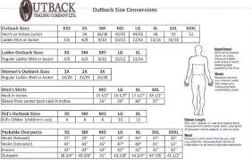 Outback Trading Company Size Chart Outback Trading Company Sizes