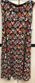 New Lularoe Llr Large Black Orange Teal Tan Maroon Aztec