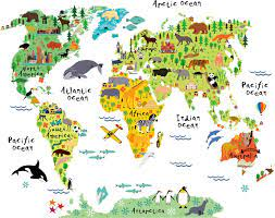 All wall decals can be shipped to you at home. Amazon Com Homeevolution Large Kids Educational Animal Landmarks World Map Peel Stick Wall Decals Stickers Home Decor Art For Nursery Kitchen Dining