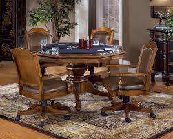 Game Table And Chairs Set Poker Table With Leather Back Game Chairs Classic Wood Game