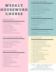 Weekly Housework Checklist Daisies Pie