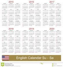 Calendar 2015 2020 Stock Vector Illustration Of 2019 45252292
