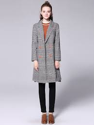 double ted asymmetric front back plaid long wool peacoat for women