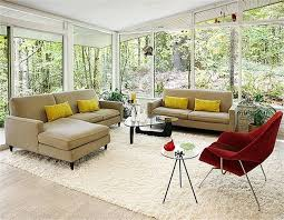 Furniture: White Furry Rug With Brown Sofa And Red Chair Plus ...