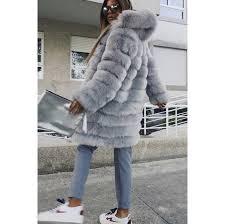 coat faux fur faux fur jacket women faux fur coat hooded coat winter hooded coat grey
