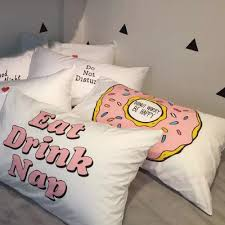 Cute Letters Pillowcases White Fun Message Pillow Cases Set 100% Cotton  Printed Creative Couple Valentines Day Gift Cover-in Pillow Case from Home  & Garden ...