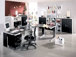 nice modern home office furniture ideas. Office:Charming Home Office Design With L Shape Grey Desk Table And Neat White Bookcase Nice Modern Furniture Ideas
