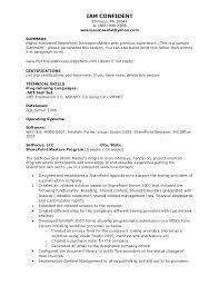 Sample Resume For Sharepoint Developer