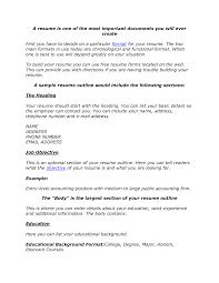 Resume Outline Examples Essayscope Com