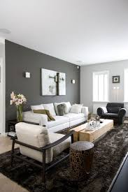 dark grey accent wall and light grey other walls, neutral furniture