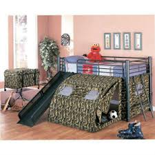 bunk bed with slide and tent. Image Is Loading Camo-Castle-Mitiary-Army-Kids-Boys-Loft-Bed- Bunk Bed With Slide And Tent C