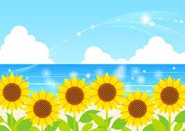 フリーイラスト ヒマワリの花と夏の海の背景でアハ体験 Gahag 著作