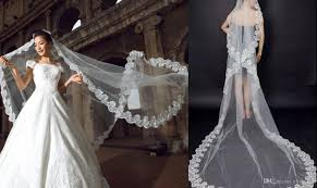 Real Image 3 Meters Wedding Veils Lace Applique Edge Tulle