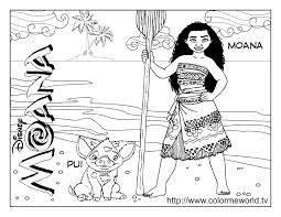 Princess Moana Waialiki And Pua Pig Coloring Pages Get Coloring Pages