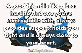 A Good Friend Is Like A Bra Hard To Find One You're Comfortable Adorable A Good Friend Quote