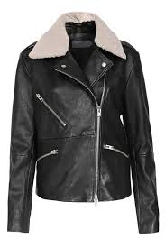 leather jacket park with teddy fur collar black