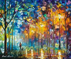 1 hour lesson of leonid afremov painting a night landscape in form friends forever
