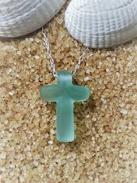 aqua sea glass hand carved cross pendant