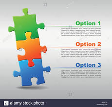 Broschüre Drei Jigsaw Puzzle Vektor Seite Blatt Puzzlestücke Blaue