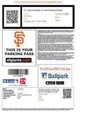 SF Giants Baseball Tickets July 7th