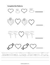 Valentine's Day Pattern Fun Worksheet - Twisty Noodle