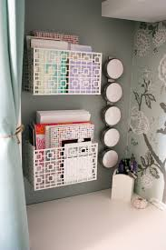 Install organizing bins to your wall.