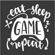 <b>Eat Sleep Game Repeat</b> — Rustic Chalk Decor