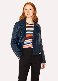 women s navy leather biker jacket paul smith
