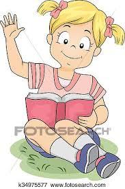 clip art kid book raise hand read books fotosearch search clipart