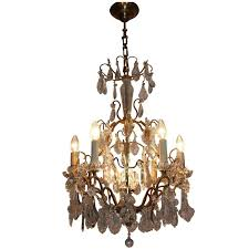 wonderful french crystal and gilt brass chandelier france circa 1960s