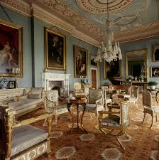 furniture in style. pale blue painted drawing room with adam style ceiling at attingham park white and gold italian furniture in the empire fireplace designed by j n
