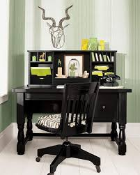 interior casual home office decorating design ideas with black wood office desk with turned legs vintage office chair and zebra pattern