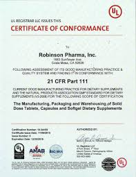 certifications robinson pharma inc independent third party tester ul registrar llc awarded robinson pharma the