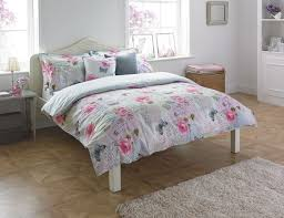 polycotton fl shabby chic duvet cover set in multi shades single bed size for