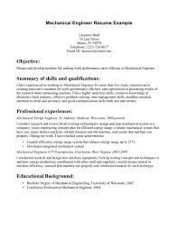 General Engineering Resume Objective Mechanical Student Internship