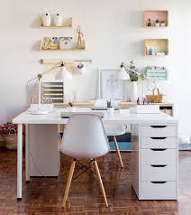 white contemporary home office design with ikea desk chair and